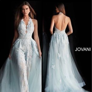 Jovani IVORY (NOT LT BLUE) jumpsuit w/ overskirt